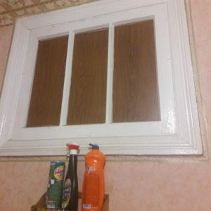 Как заделать окно между ванной и кухней?